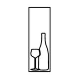 Figure symbol wine bottle with glass icon Royalty Free Stock Photo