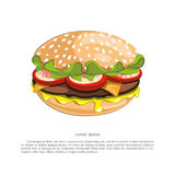 Figure tasty burger on a white background. Vector illustration Stock Photography