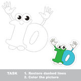 Figure Ten to be traced. Vector trace game. Figure Ten in  to be traced. Restore dashed line and color the picture. Trace game for children. Fugures and fingers Stock Image