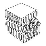 Figure three thick books icon. Figure three thick books one on top of other icon Stock Images