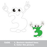 Figure Three to be traced. Vector trace game. Stock Photo