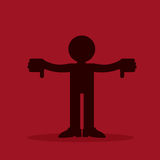 Figure Thumbs Down. Figure silhouette with two thumbs down Stock Photos