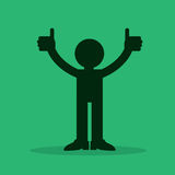 Figure Thumbs Up. Figure silhouette with two thumbs up Stock Images