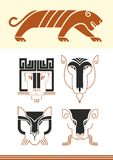 Tiger masks and figure. Stylized figure of a tiger, stylized Tiger masks Royalty Free Stock Image
