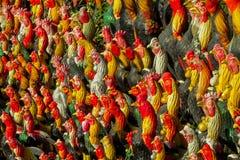 Figure tradizionali variopinte del gallo del gallo in Tailandia Fotografia Stock Libera da Diritti