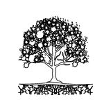 Figure trees with some leaves icon. Illustraction design Stock Image