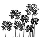Figure trees with stem in form hand icon. Illustraction design image Royalty Free Stock Photography