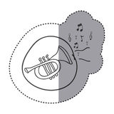 Figure trumpet instrument with notes music icon. Illustration design Stock Photos