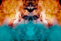 Figure tunnel in the fire, with orange, blue and red flames, depicted puffs of smoke evaporating curls on a dark black background royalty free stock images