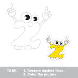 Figure Two to be traced. Vector trace game. Figure Two in  to be traced. Restore dashed line and color the picture. Trace game for children Royalty Free Stock Image