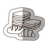 Figure various types of bread icon Stock Photography