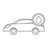 Figure voiture avec l'icône d'huile de baisse Photographie stock libre de droits