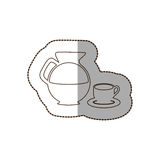 Figure water pitcher with coffee cup and plate icon. Illustraction Royalty Free Stock Photography