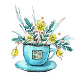Figure watercolor depicting a house in a tea cup cup. Design concept for tea, cafe, restaurant, print, background royalty free illustration