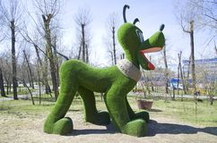He figure of a well-known animated dog is installed in the municipal park of a provincial Siberian town. Russia stock photography