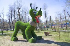 He figure of a well-known animated dog is installed in the municipal park of a provincial Siberian town. Russia stock photo