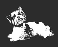Figure White Dog. Illustration Figure White Dog on a Gray Background Stock Image
