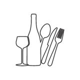 Figure wine bottle, glass and cutlery icon Royalty Free Stock Photo