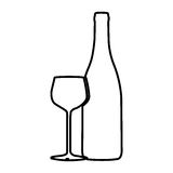 Figure wine bottle with glass icon Stock Photo