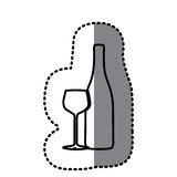 Figure wine bottle with glass icon. Illustraction design Royalty Free Stock Photos