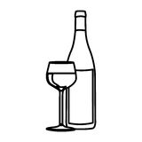 Figure wine bottle with glass with wine icon Stock Photography