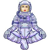 Figure of a woman astronaut sitting in a Buddha pose. Meditation in space. Color drawing.  Vector illustration isolated on a white background. Print, poster, t Royalty Free Stock Photo