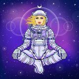 Figure of a woman astronaut sitting in a Buddha pose. Meditation in space. Color drawing. Background - the night star sky. Vector illustration.  Print, poster Stock Images