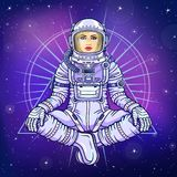 Figure of a woman astronaut sitting in a Buddha pose. Meditation in space. Color drawing. Background - the night star sky. Vector illustration.  Print, poster Stock Photo