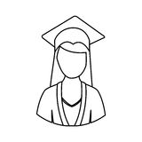 Figure woman graduation icon Stock Photo