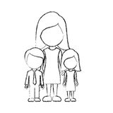 Figure woman her children icon Royalty Free Stock Images