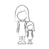 Figure woman with her daughter icon Royalty Free Stock Photography
