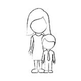 Figure woman with her son Stock Image
