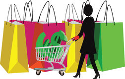 Figure of a woman with shopping Stock Photography