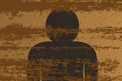 Figure in Wood. A background of a plank of wood with grain effect and a figure silhouette Royalty Free Stock Images