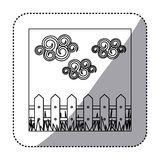 Figure wood grid with cloud and grass icon Royalty Free Stock Image
