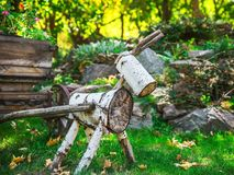 A figure of wood logs in the garden Stock Image