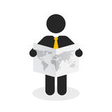 Figure with a yellow tie viewing the world map. Black figure with a yellow tie viewing the world map Royalty Free Stock Photos