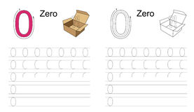 Figure zero. Zero. Learn handwriting. Vector exercise illustrated alphabet. Learn handwriting. Tracing worksheet for figure zero Royalty Free Stock Photography