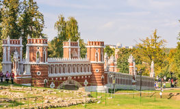 Figured bridge. Museum-Reserve Tsaritsyno. Moscow Royalty Free Stock Photo