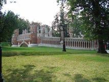 Figured bridge overview in Tsaritsyno Park stock image