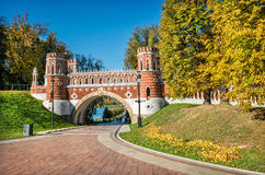 Figured bridge. In Tsaritsyno park in Moscow bright sunny morning Royalty Free Stock Image