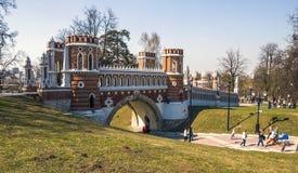 Figured bridge in Tsaritsyno stock images