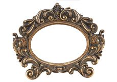 Figured decorative gold bronze frame on isolate stock image