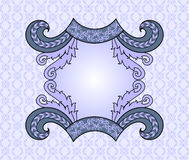 Figured frame in lilac blue colors, with swirls on light blue ba. Ckground with light purple pattern Stock Image