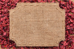 Figured frame made of burlap on dried cranberry Royalty Free Stock Photo