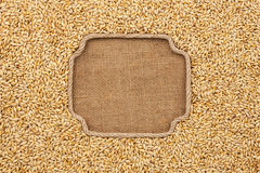 Figured frame made of rope with barley grains on sackcloth Royalty Free Stock Image
