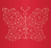 Figured gold butterfly on  red background Stock Images