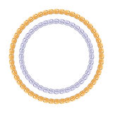 Figured gold and silver chain - round frame. Royalty Free Stock Images
