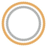 Figured gold and silver chain - round frame. Royalty Free Stock Photos