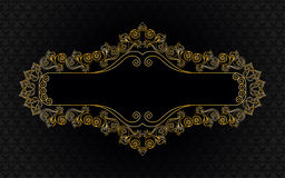 Figured, golden frame on a black background. With a pattern Stock Photography